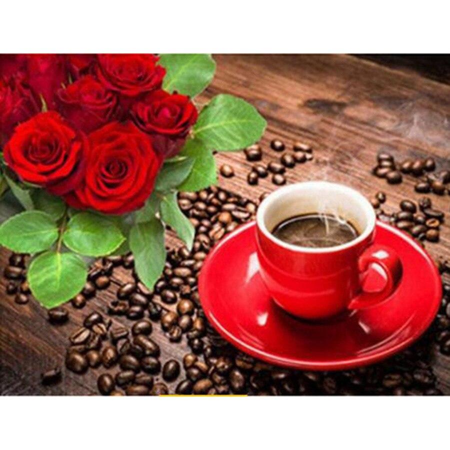 5d Flor Diamante Bordado Pintura Diy Diamante Mosaico Café Rosa - Artes, artesanía y costura