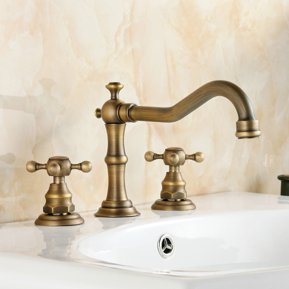 European creative full copper faucet retro double three-hole split hot and cold above counter basin faucet wx7281146European creative full copper faucet retro double three-hole split hot and cold above counter basin faucet wx7281146