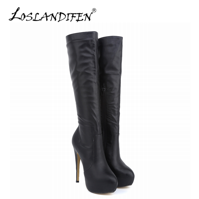 LOSLANDIFEN Winter Women Knee-High Boots Matte Leather Pointed Toe High Heels Shoes Mid Calf Knee Wide Leg Stretch Boots 819-6MA 2018 new vintage mid calf women boots square thick high heels pointed toe martin boots genuine leather winter shoes for women