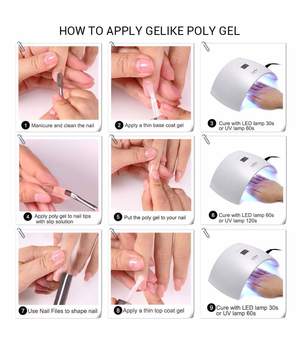 60G Gelike Poly Gel 90s LED Cure Easy have Long Nails Shape Easy Work Poly Gel Nails Beauty Build Long Nails UV Gel in Nail Gel from Beauty Health