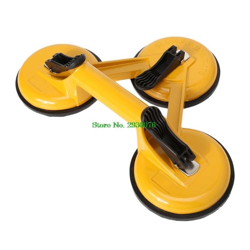 4.5inch Vacuum Suction Cup Aluminium Alloy Dent Puller Handle Lifter Heavy Duty Glass Lifting Remover for Glass//Tiles//Mirror//Granite Lifting ,Dent Remover Gripper Sucker Plate Double Handle Locking