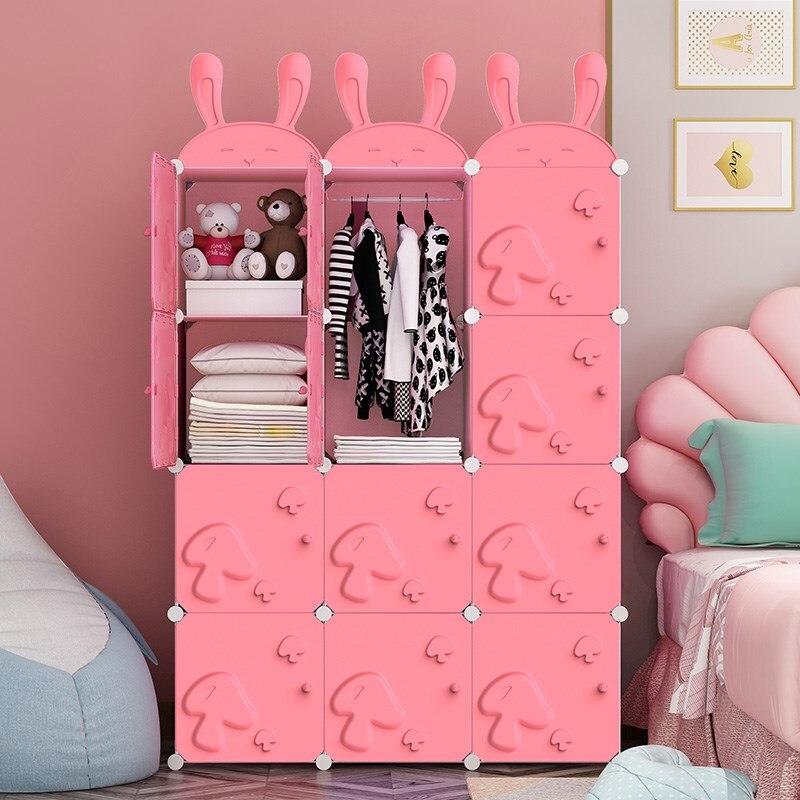 Rose Cartoon filles chambre armoire PP en plastique garde-robe enfants vêtements stockage enfants placard armoire en métal cadre suspendu B536
