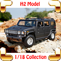 New Year Gift H2 1/18 Large Model SUV Car Collection Vehicle Model Scale Metallic Jeep Truck Machine Decoration Toys