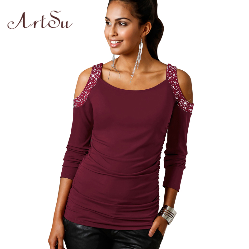 ArtSu Off the Shoulder Tops for Women Sequin Long Sleeve Tshirt Women Poleras De Mujer Moda 2018 Shirt Camiseta ASTS30003