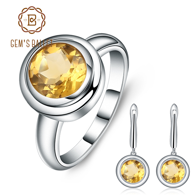 GEMS BALLET Natural Citrine Classic Jewelry Set 925 Sterling Silver Earrings Ring Set For Women Wedding Gift Fine Jewelry New
