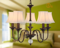 5 Heads American Country Style CRYSTAL BALL Pendant Lamp Dining Room Bedroom Bar Light Fabric Shade