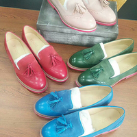 Yinzo/женские туфли оксфорды на плоской подошве; женские кроссовки из натуральной кожи; женские броги; винтажная повседневная обувь для женщи