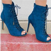 Carpaton Hot Selling Lace Up Peep Toe Stiletto Booties Woman High Heel Ankle Boots Sexy Thin Heels Gladiator Shoes