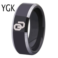 Free Shipping Customs Engraving Ring Hot Sales 8MM Black With Shiny Edges Oklahoma Design Tungsten Wedding