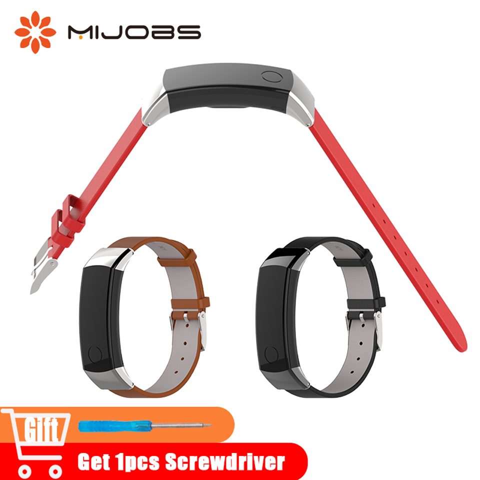 все цены на Mijobs Genuine Leather Strap Watch Band for Huawei Watch Honor Band 3 Wrist Strap Watchband Smart Wristband Bracelet Accessories онлайн