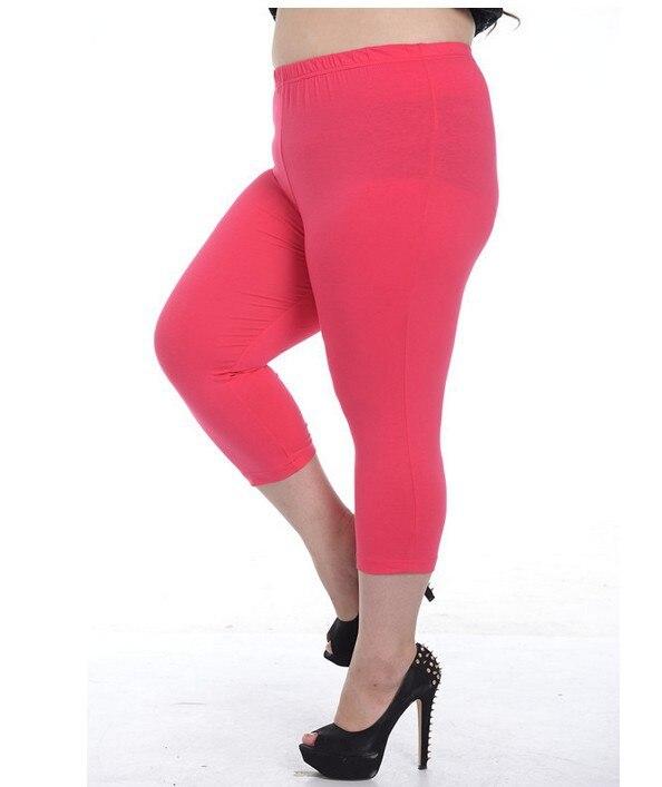 Capris Leggings Plus Size Women Candy Colors Pants Half Length ...