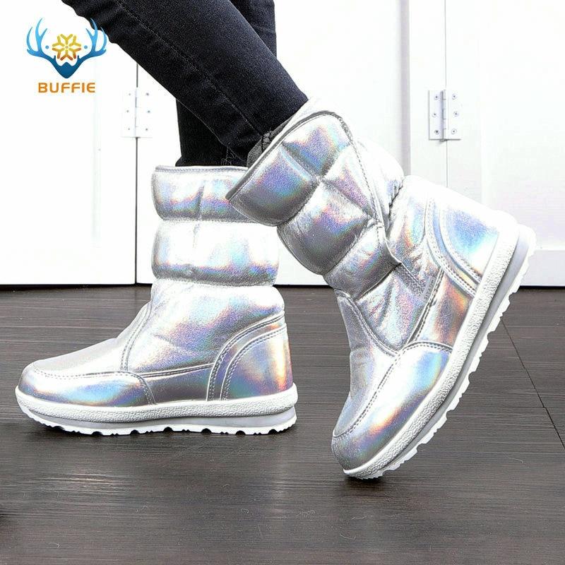 2018 Nové zimní módní dámské boty smíšené přírodní vlně ženy teplé boty nepromokavé husté kožešiny plné velikosti stříbrné dáma sněhové boty