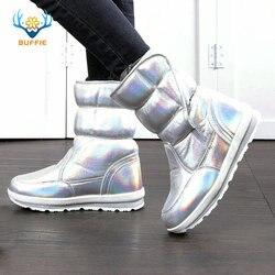2019 جديد أزياء الشتاء النساء الأحذية مختلطة الطبيعي الصوف الإناث الأحذية الدافئة للماء سميكة الفراء كامل حجم الفضة سيدة الثلوج الأحذية