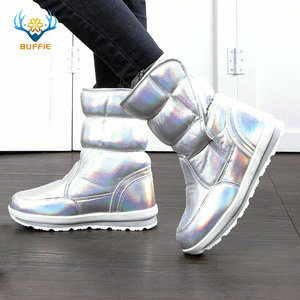 Image 1 - 2020 New Winter fashion women boots mixed natural wool female warm boots waterproof thick fur full size silver lady snow boots