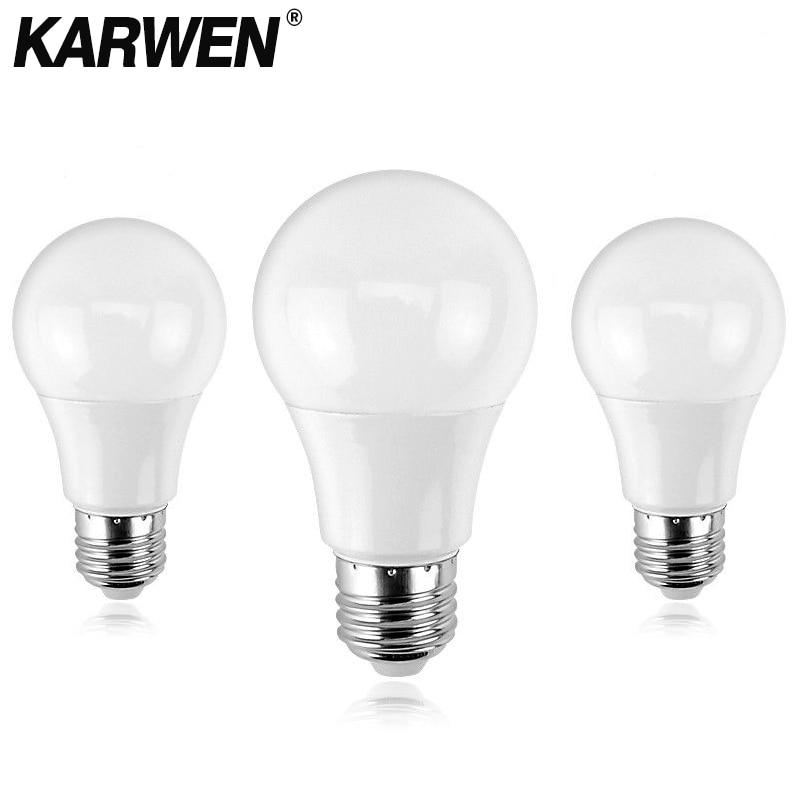 KARWEN Ampoule LED Bulb E27 E14 3W 5W 7W 9W 12W 15W 18W Smart IC LED Lamp Light Cold White White Lampada Bombilla Lamp