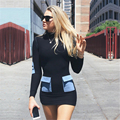 HEYounGIRL 2017 * New Arrival Spring Patchwork Women Dresses With Blue Pockets Full Longsleeve Shealth Dresses Women Turtlence