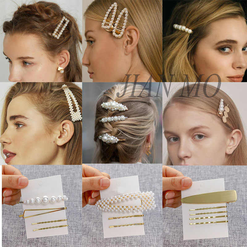 2019 Hot Sale Women Girls Elegant Pearl Geometric Alloy Hair Clips Barrettes Hairpins Female Hair Styling Accessories F001