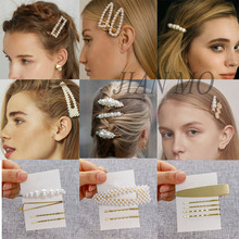 2019 Hot Sale Women Girls Elegant Pearl Geometric Alloy Hair Clips Barrettes Hairpins Female Styling Accessories F001