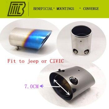 3 ألوان سيارة العادم مستقيم المبددة الخمار تعديل الذيل الحلق بطانة الأنابيب لهوندا خاص عيار 70mm. طول 140mm