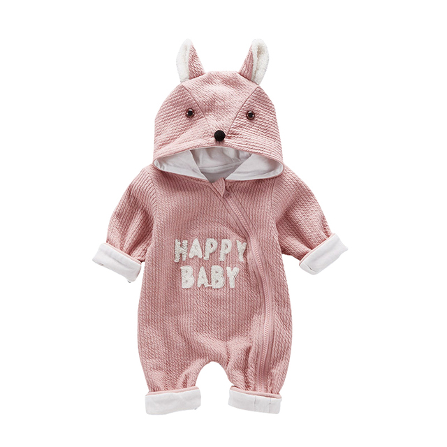 b0124cc57d70 Baby Clothing Fox Bear Rompers Newborns Body Suit Kids Clothes Boy Girl  Jumpsuit Baby Romper Hooded Warm Cotton Infant Overall