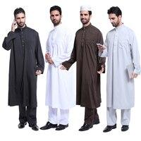 Muslim Sets 2pcs Popular Jubbah Islam Apparel Men Abaya Black White Coffee Grey Color Saudi Arab