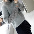 2016 New Fall Women Sweater Ruffle Sleeve Knitted Fashion Rabbit Fur Sweaters Top Quality Turtleneck Female Slim Crop One Size