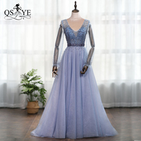 QSYYE 2019 Cheap Evening Prom Dress Dusty Blue Long Sleeves Heavy Beading Dexy Deep V neck Party Gown