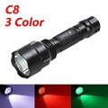 ANJOET C8 White/Green/Red led Tactical flashlight T6 hight power 1-mode Torch lanterna light for Hunting Camping 18650 battery