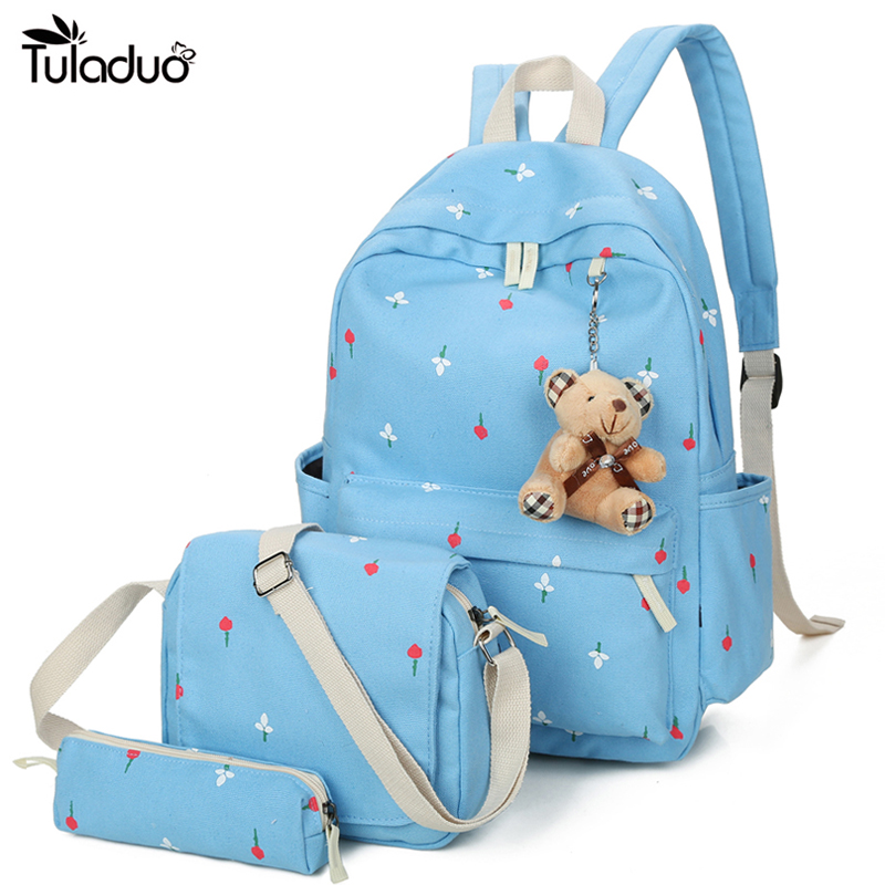 3PC/Set Canvas Floral Printing Backpack Women School Bags for Teenage Girls Cute Book bags Students  Backpacks Female Children tourit 2016 new canvas printing backpack women school bags for teenage girls cute bookbags vintage laptop backpacks female