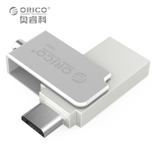 ORICO USB Flash Drives Mini Metal OTG U Disk 2 in 1 Two Connector for Mobile Computer Tablet Car Use 16G — Silver