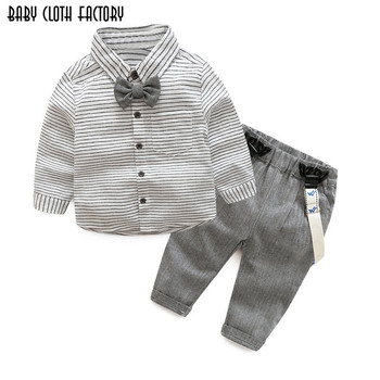 2017 New Baby Boys Autumn Casual Clothing Set Baby Kids  Gentleman Bow Clothing Sets Shirt+overalls 2-Piece Suit Set