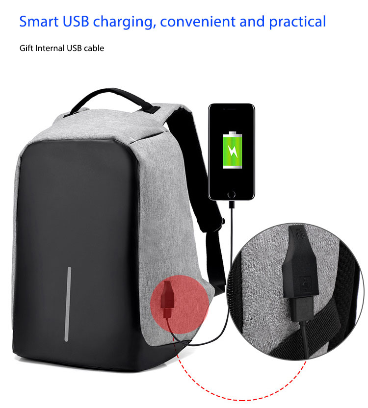 Third Generation USB Charge Anti Theft Backpack 15inch Laptop Backpacks Fashion Bags Bagpack Blue 15inch 6