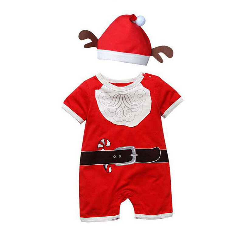 2017 New Baby Christmas Rompers Santa Claus Cosplay jumpsuit Hats Newborn Baby Girl Boy Clothing New Year