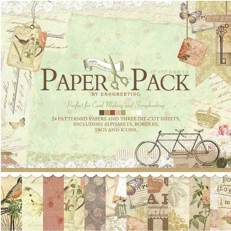 Paper-Pad Page-Kits Scrapbook Alphabets Eno Greeting Vintage with Borders-Tags And Icons title=
