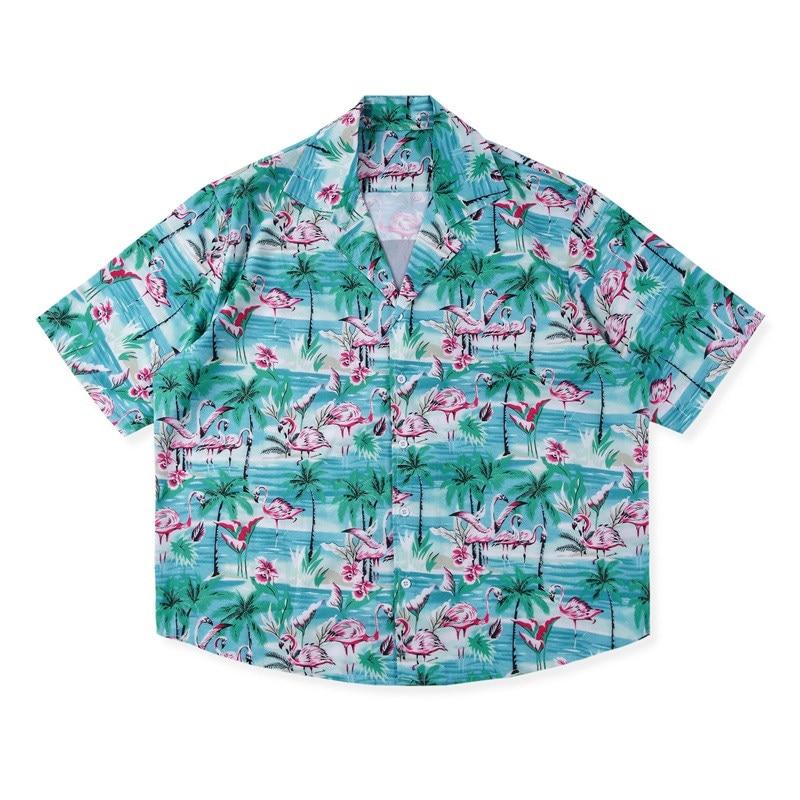 Rhude hommes femmes flamant rose chemise kanye west hauts hip hop harajuku japonais streetwear été décontracté imprimé chemises chemise hawaïenne