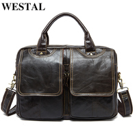 WESTAL Leather Laptop Briefcases Bag Men's Genuine Leather Document Bags for Men Male Briefcases Business Office/work Bags 8002