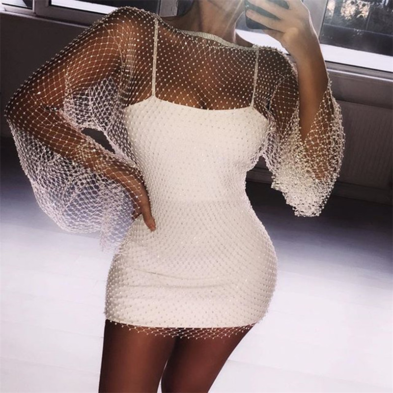 Shiny Rhinestones Sequin Fishnet Women Mini Dress Sexy Long Sleeve Mesh Hollow Out Transparent Party Clubwear Dresses