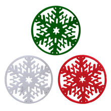 10pcs/set Christmas Stlye Coaster Mats Decoration Non-woven Insulation Pad Snowflake Round Placemats For Dining Table Home Decor(China)