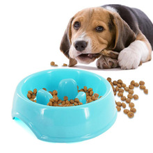 Puppy Slow Down Eating Feeder Dish Slow Feeder Anti-Gulping Dog Bowl Anti Choke Pet Dog Cat Feeding Feed Food Plastic Bowl