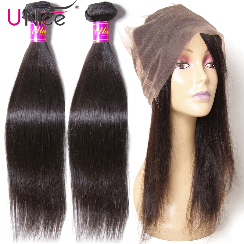 Unice Hair Straight Hair Bundles With 360 Lace Frontal Natural Color Brazilian 2 Bundles Remy Human Hair With 360 Frontal