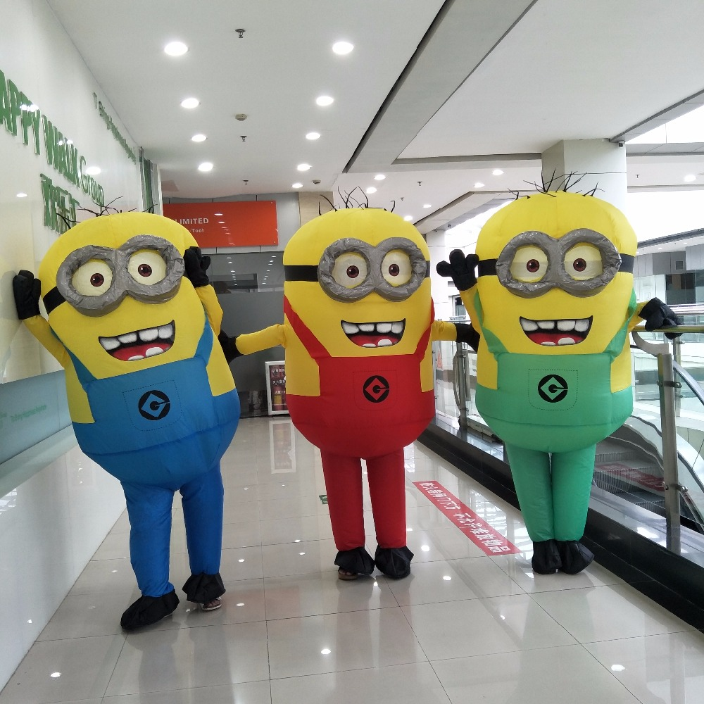 2017 Halloween Cosplay Party Costume Adult Minion Inflatable Despicable Me Minion Costume Mascot For 1 5