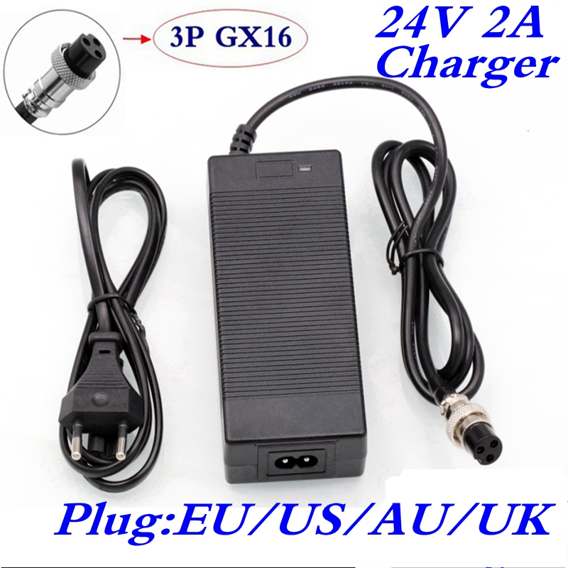 24V 2A lead-acid battery <font><b>charger</b></font> <font><b>electric</b></font> scooter ebike <font><b>charger</b></font> wheelchair <font><b>charger</b></font> <font><b>golf</b></font> <font><b>cart</b></font> <font><b>charger</b></font> 3 feet inline12MM AC100-200 image