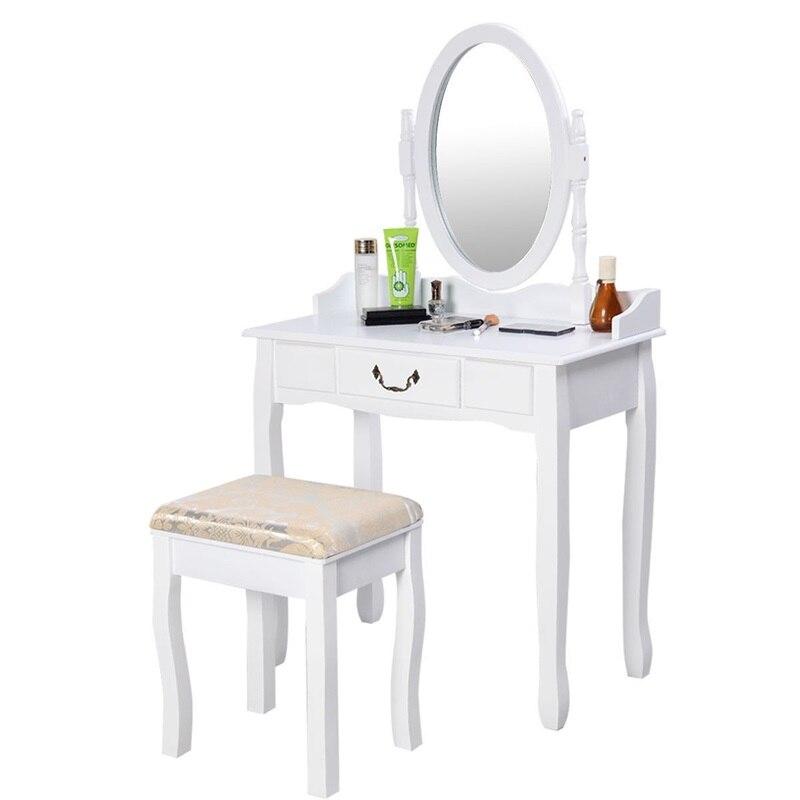 Moderne femmes chambre ensemble meubles blanc vanité maquillage bureau commode Table et tabouret ensemble avec miroir rotatif HW50200