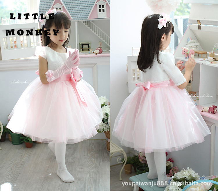 children wedding dress flower long tail princess dress bubble dress Party costume