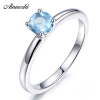 AINUOSHI 0.8 Carat Round Cut Classical Ring Pure 925 Silver Sky Blue Natural Topaz Ring Fashion Engagement Wedding Ring