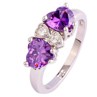 Free Shipping Heart Cut Love Style Purple Amethyst 925 Silver Ring Size 7 8 9 10 New Fashion Romantic Jewelry Gift  For Women