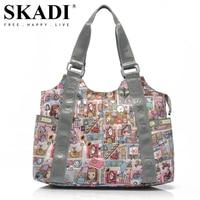 SKADI Famous Brand Mermaid Flower Cartoon Women Handbags Waterproof Fashion Nylon Shoulder Bags Mulheres Bolsa Feminina