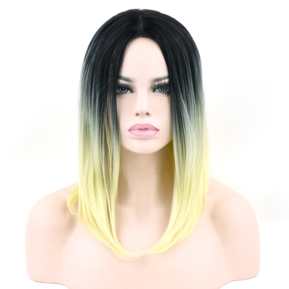 Soowee Short Synthetic Hair Black To Blond Ombre Gray Hair Party Wig