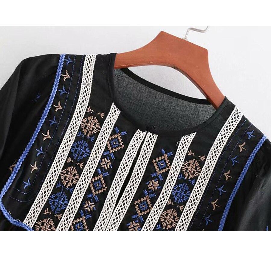 sleeve black TEELYNN blusas