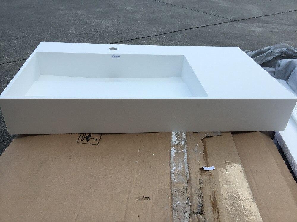 Corian Badkamer Wanden : Rechthoekige matt solid oppervlak steen teller top wassen sink